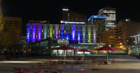 Edmonton Public Library Hyperlapse From Churchill Square At Night Footage