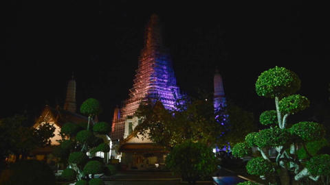 lluminated color lights of temple of dawn Footage