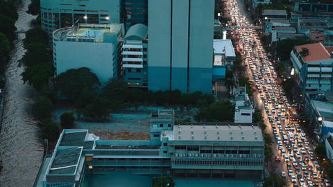 aerial birds eye of crazy bangkok traffic Live影片