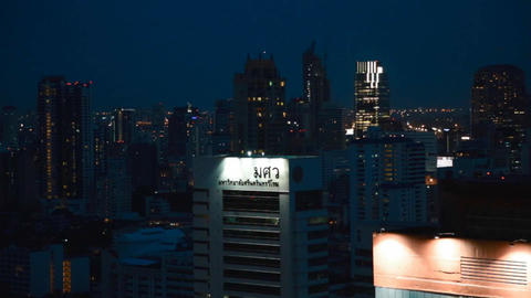 aerial night pan of bangkok downtown Live Action