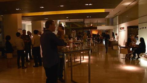 caucasion men enjoying some wine at classy hotel Live影片
