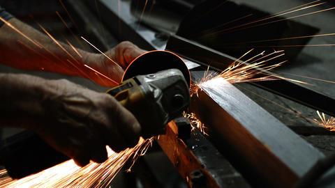 Close Up Metal Sawing With Circular Blade GIF