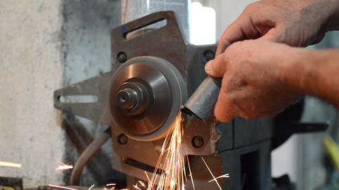 Closed Up Grinding Stone With Sparks Footage