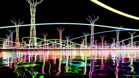 Color glow abstract objects on sea Footage