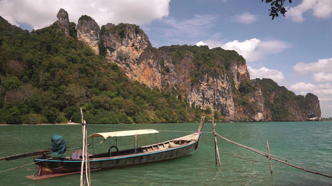 Long tail boat swing on calm waves of Andaman sea Footage