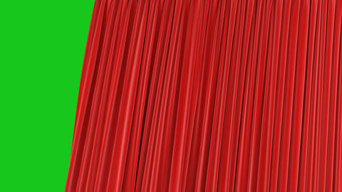 Beautiful Seamless Red Single Curtain Opening and Closing on Green Screen Footage