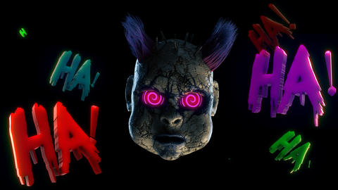 Abandoned Punk Doll Head VJ Loop Animation