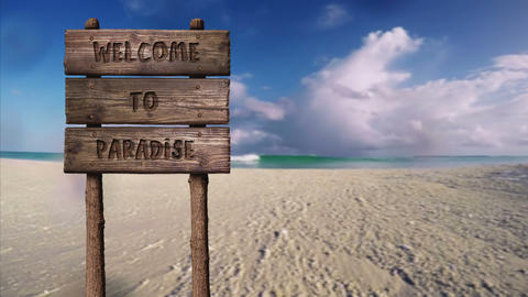 Summer Wooden Board Sign with Text, Welcome To Paradise Footage