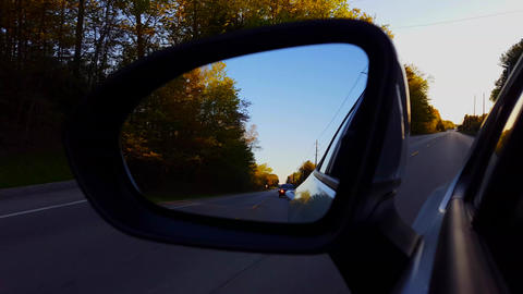 Driving Rural Road View of Side Mirror in Daytime. Driver... Stock Video Footage