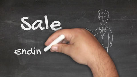 An Animation of Writing on a Black Board That Sale Ends Soon Animation