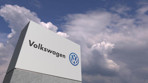VOLKSWAGEN logo against sky background, editorial animation Live Action