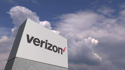 VERIZON logo against sky background, editorial animation Stock Video Footage