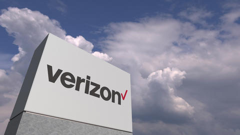 VERIZON logo against sky background, editorial animation Live Action