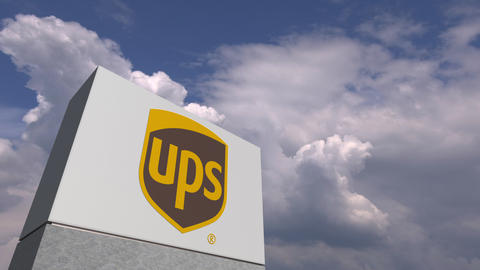 UPS logo against sky background, editorial animation Live Action