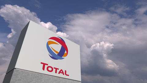 TOTAL logo on sky background, editorial animation Live Action