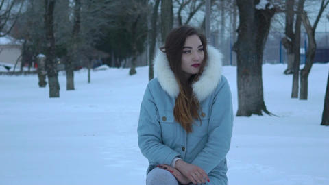 Woman Flu Freezing Cold Winter Outdoors Frostbite Live Action