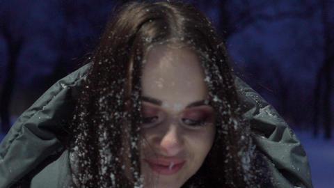 Happy Woman Having Fun Outdoors In Winter Footage