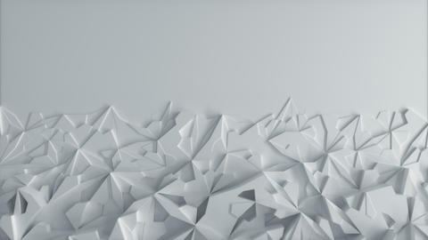 Low poly White Ice Block 3d Background with blank Space - Horizontal Animation