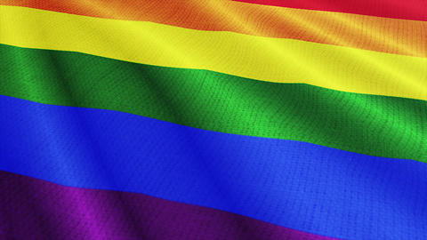 LGBT flag is waving 3D illustration. Rainbow flag on fabric cloth, pride, gay symbol background Animation
