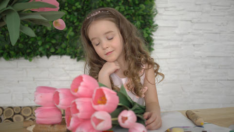 4K Girl With Pink Tulips Footage