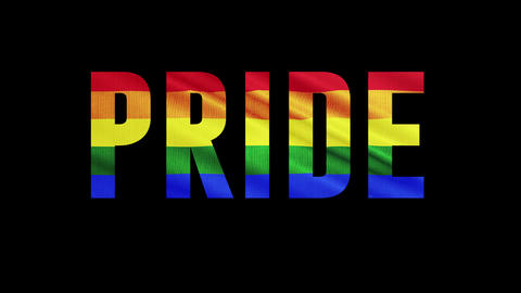 "Rainbow LGBT cloth and text of ""PRIDE"" Colorful symbol of LGBTQ is waving behind text Animation"