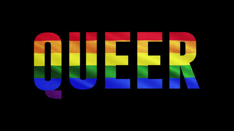 "Rainbow LGBT flag and text of ""QUEER"" Colorful symbol of LGBTQ is waving behind text. Alpha channel, Animation"