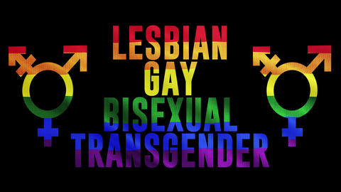 "Rainbow LGBT cloth and text of ""LESBIAN GAY BISEXUAL TRANSGENDER"" Colorful symbol of LGBTQ is waving Animation"