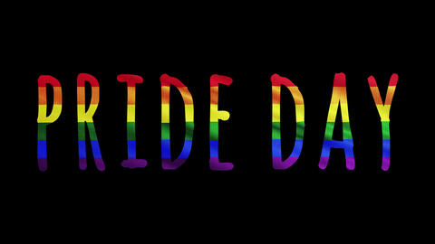 "Rainbow LGBT flag and text of ""Pride Day"" Colorful symbol of LGBTQ is waving behind text. Alpha Animation"
