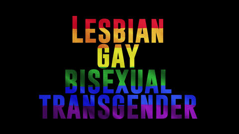 """Rainbow LGBT cloth and text of """"LESBIAN GAY BISEXUAL TRANSGENDER"""" Colorful symbol of LGBTQ is waving Animation"""