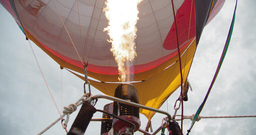 Blowing Inflating With Fire From Gas Burner of Large Balloon Aerostat Footage
