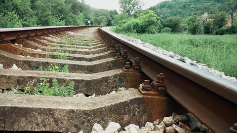 Railroad passes through the mountain Footage