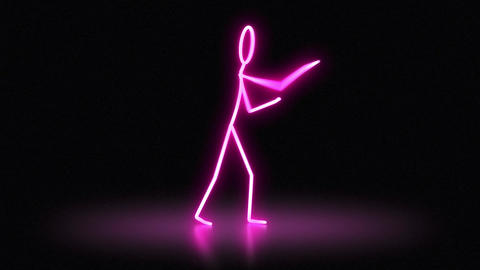 Stickman Neon Hip Hop Dance Girl Boy Animation
