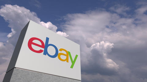 EBAY logo against sky background, editorial animation Live Action