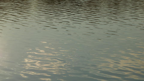 Calm water close up. Tranquil scene river water reflections of blue sky Footage
