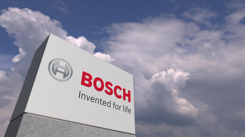 BOSCH logo on sky background, editorial animation Live Action