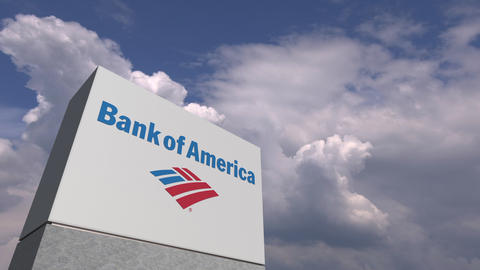 Logo of BANK OF AMERICA on a stand against cloudy sky, editorial animation Live Action