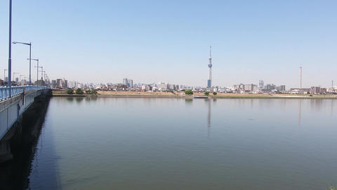 Japan city scenery. Panoramic landscape with river Footage