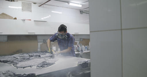 Man Working As Artisan With Circular Saw Tool In Laboratory Live Action