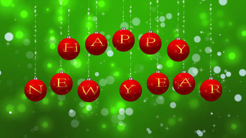 Happy New Year Wishes on Red Ornaments Loop Animation