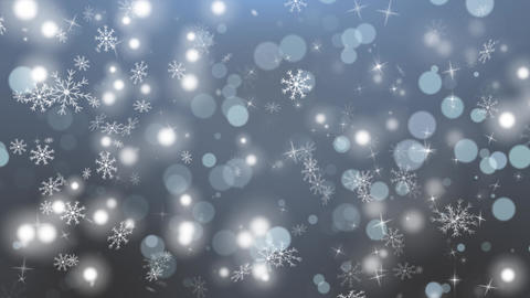 White Winter Bokeh and Blue Background Loop Animation