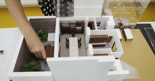 Wood And Plastic Model Of House In Architecture Design Studio Footage