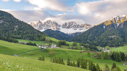 Dolomites mountain landscape time lapse at Santa Maddalena village, St. Magdalena Italy timelapse Footage