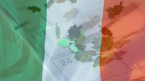 Animation of Irish flag with a calendar in the background Animation