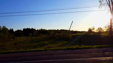 Side View Driving Rural Road in Day. Driver Point of View POV Driving Past Countryside Landscape Footage