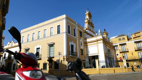 Basilica de la Macarena, streetlife in time lapse Footage