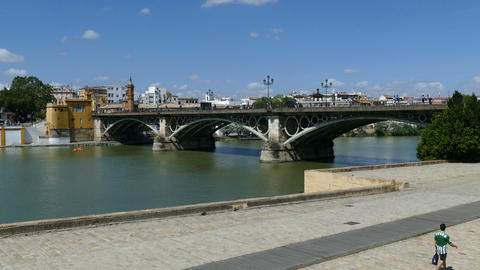 View over canal Alfonso XIII in Seville, Museum Del Castillo De San Jorge Footage