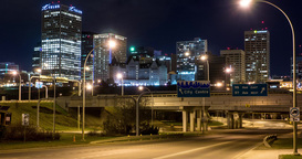 Timelapse of City Skyline in Edmonton, Alberta at night Footage