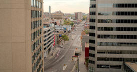 Afternoon timelapse of 103 avenue in downtown Edmonton, Alberta Footage