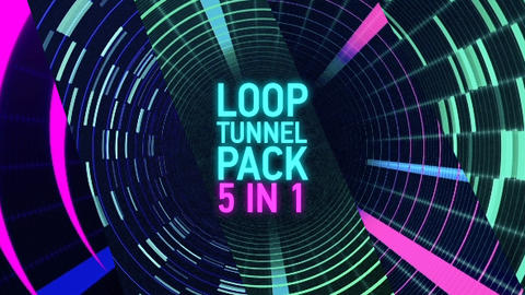 5 in 1 Tunnel Loop Digital Pack After Effects Template