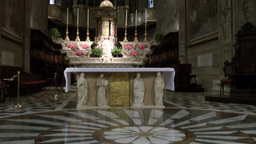 Europe Italy Liguria Savona 026 altar and marble floor in catholic church nave Footage